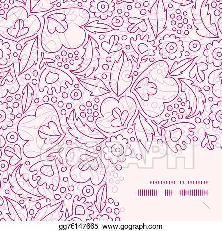 Pink burst corner clipart free banner free Vector Illustration - Vector pink flowers lineart frame ... banner free