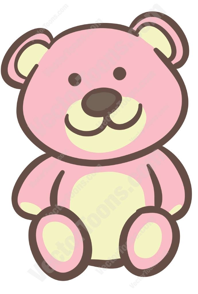 Pink cartoon clipart picture library Pink Teddy Bear Vector Clip Art Cartoon - Free Clipart picture library