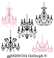 Pink chandelier clipart clipart black and white download Chandelier Clip Art - Royalty Free - GoGraph clipart black and white download