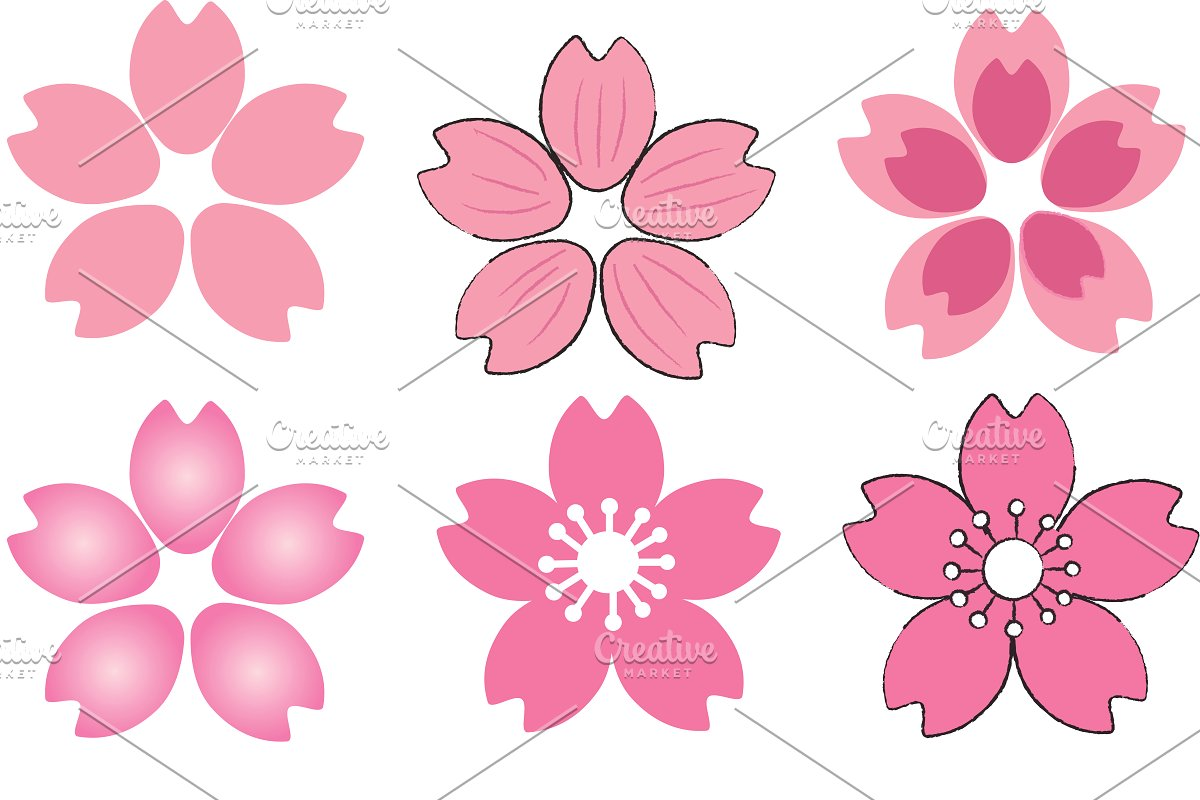 Pink cherry blossoms clipart stock Set of Pink Cherry Blossom stock