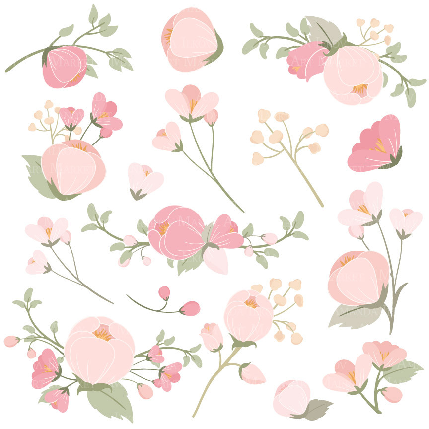 Pink clip art flowers freeuse library Flower Clipart in Soft Pink – Mandy Art Market freeuse library
