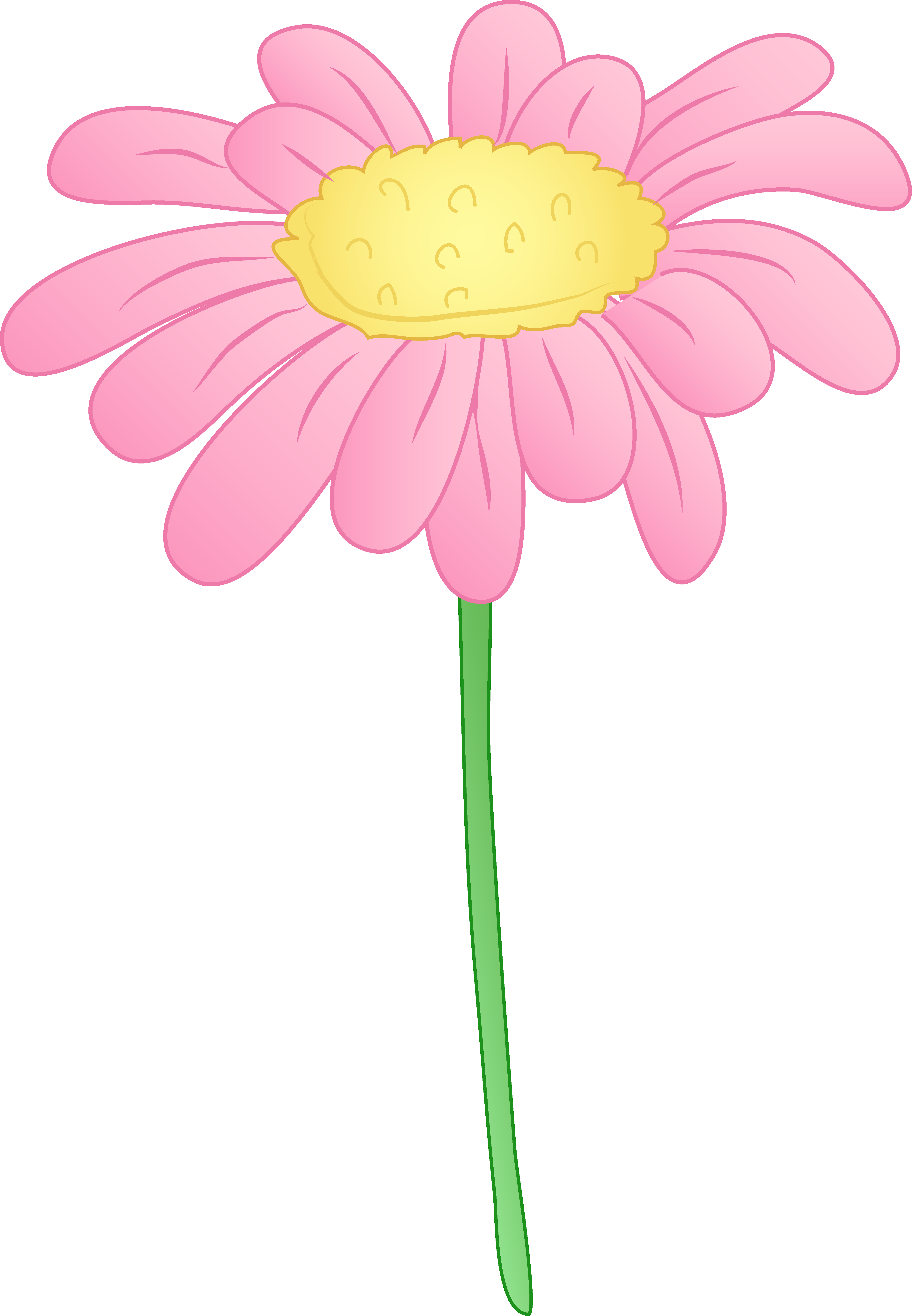 Pink daisy cliparts black and white Pretty pink daisy flower free clip art clipartandscrap ... black and white
