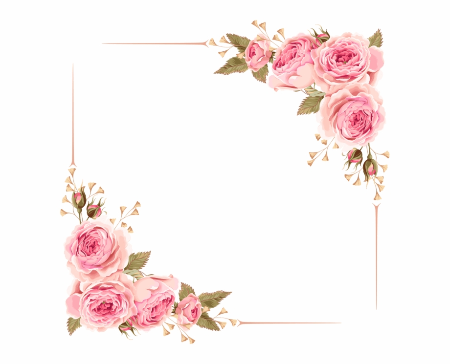 Pink floral frame clipart vector black and white download Flower Border Clipart Frame Png Free - Pink Flower Border ... vector black and white download