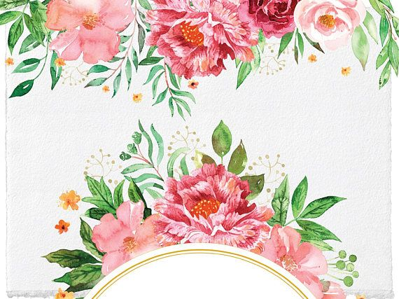 Pink floral frame clipart freeuse library Wedding Blush Floral Frames and Borders Clipart   Watercolor ... freeuse library