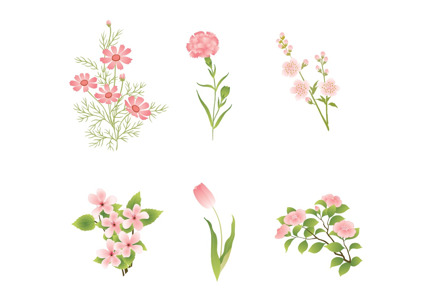 Pink flower vector clipart graphic library library Various Pink Flower Vectors - Download Free Vectors, Clipart ... graphic library library