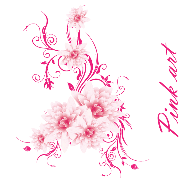 Pink flower vector clipart clip royalty free Lovely Pink Flowers Free Vector Art | Download Free Vector ... clip royalty free