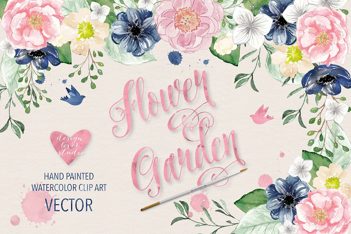 Pink flower vector clipart png black and white download Vector Watercolor Navy blue and Pink Flower Garden clipart png black and white download