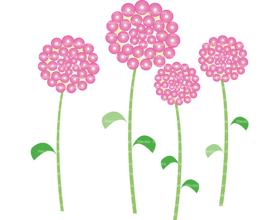 Pink flowers clip art vector black and white library Pink Flowers Clipart - Clipart Kid vector black and white library