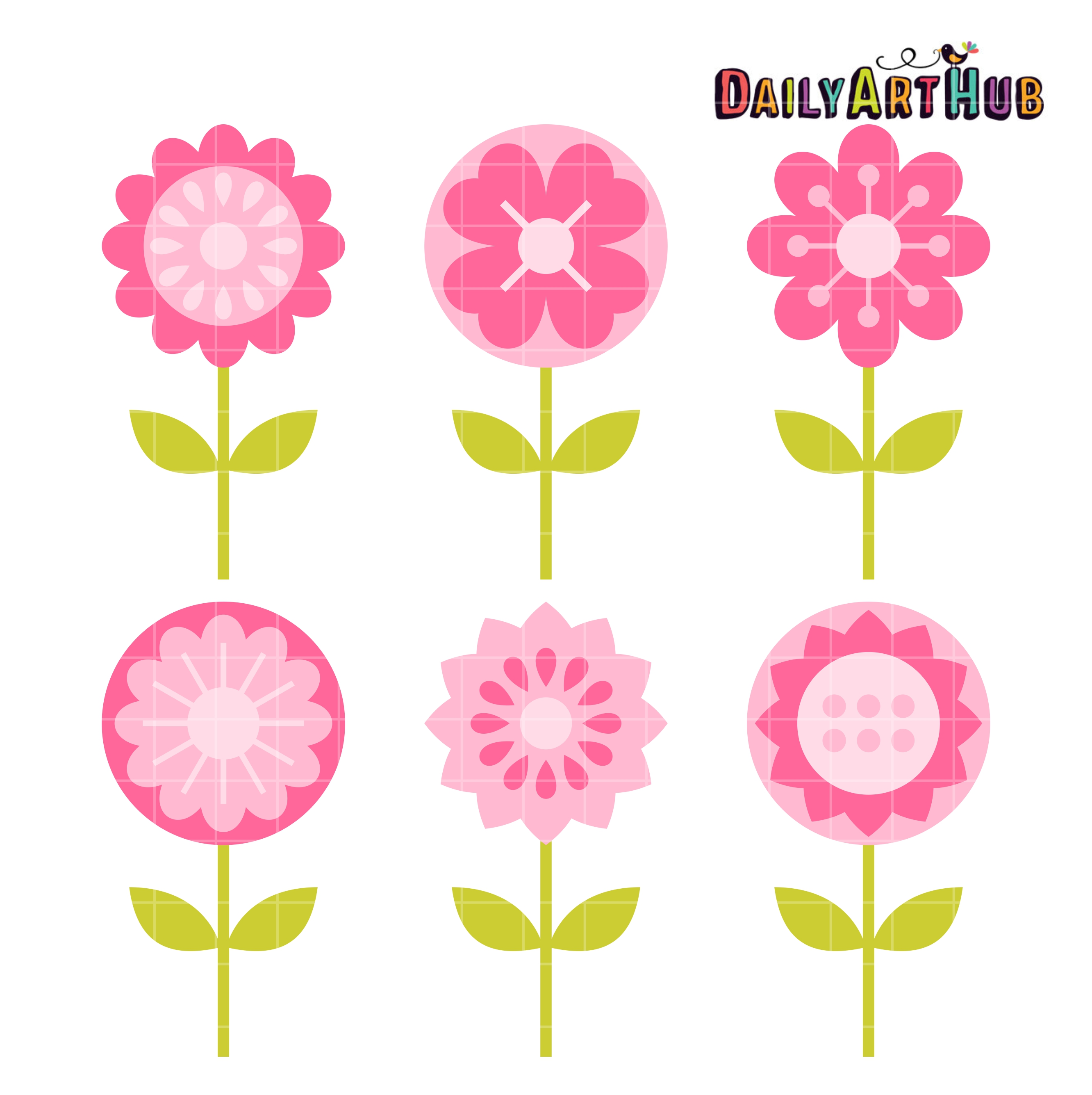 Pink flowers clip art clipart free Pink Flowers Clip Art Set | Daily Art Hub clipart free