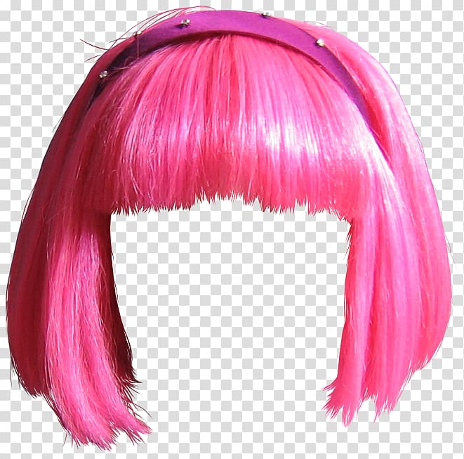 Pink hair clipart clip black and white Pink hair wig, Stephanie LazyTown Wig , wig transparent ... clip black and white