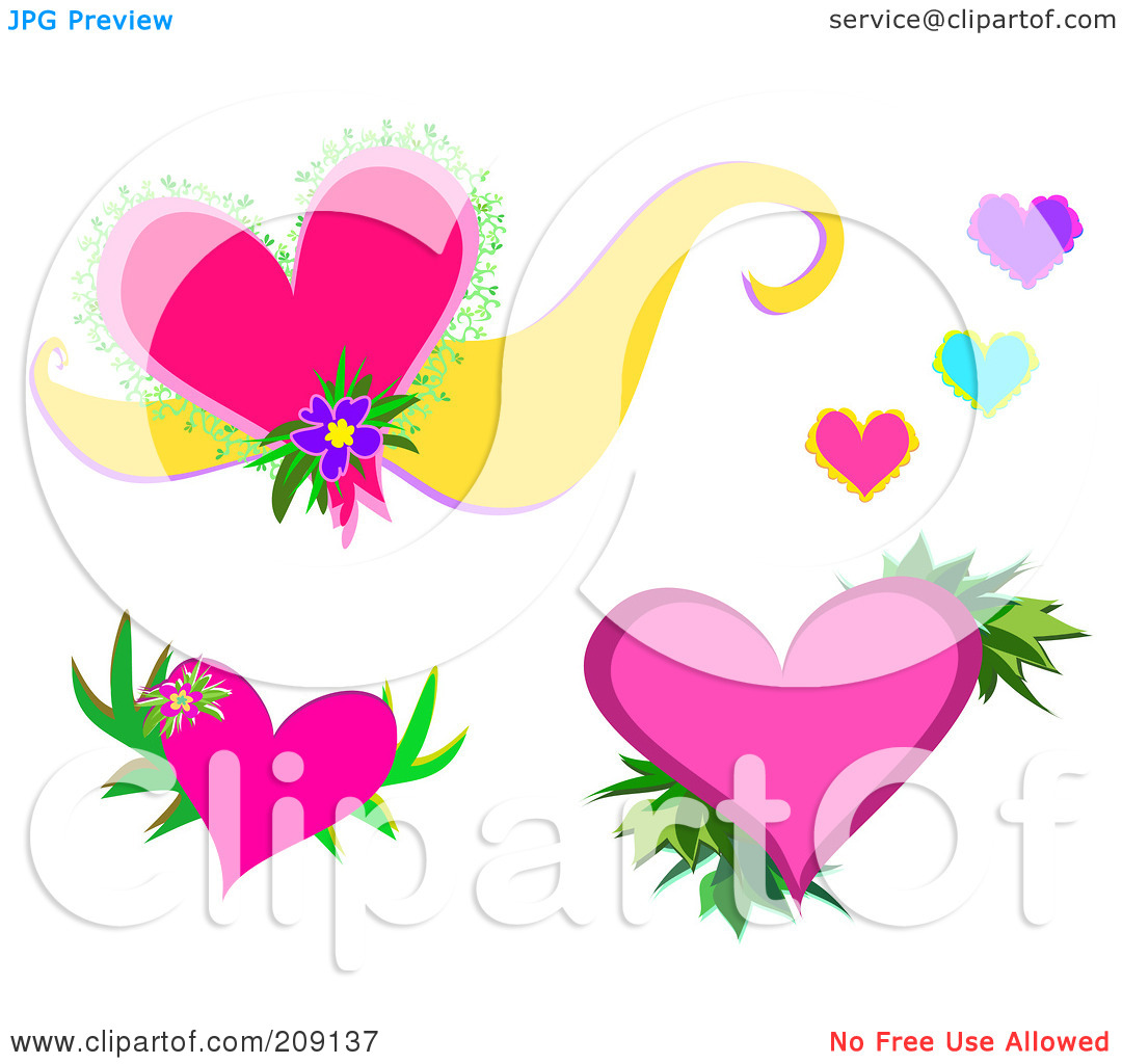 Pink hearts and flowers clipart jpg Royalty-Free (RF) Clipart Illustration of a Digital Collage Of ... jpg