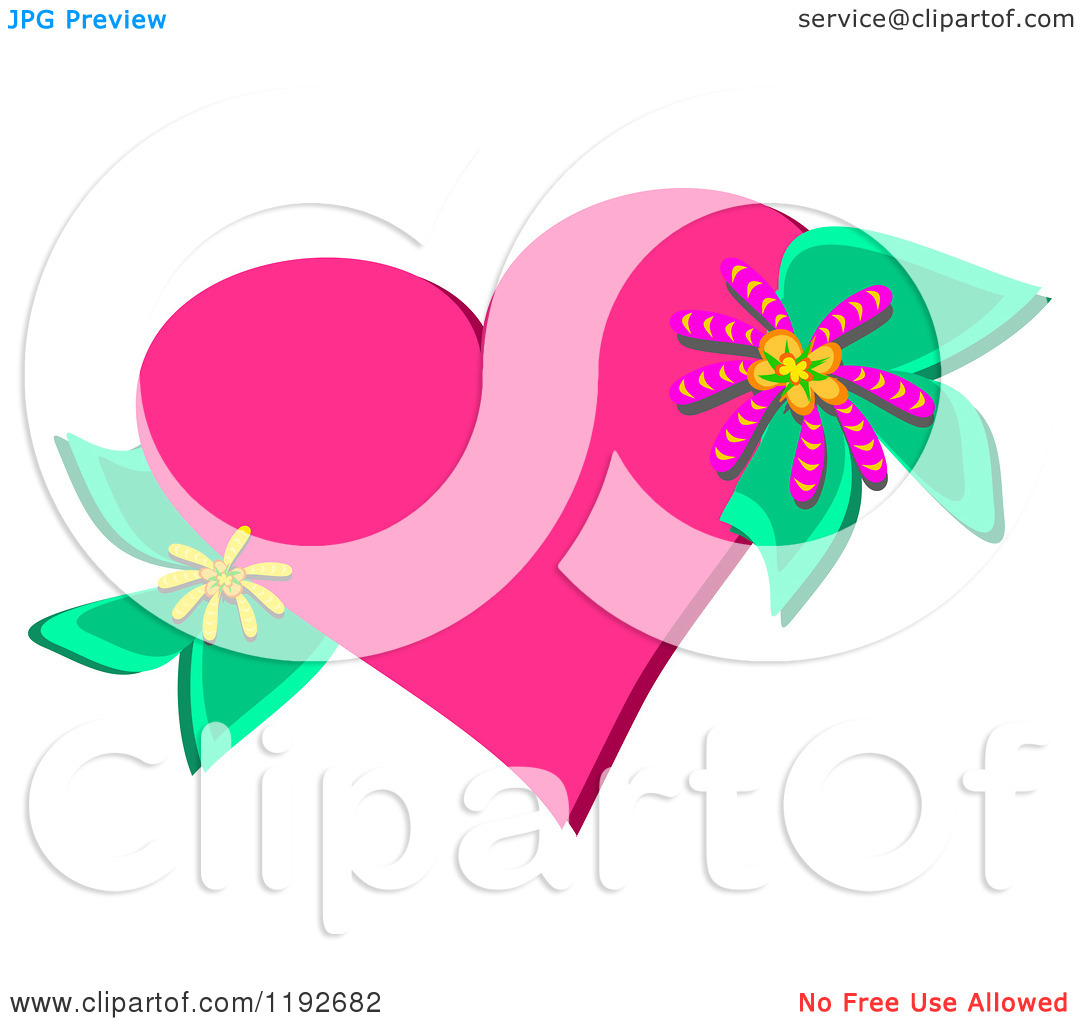 Pink hearts and flowers clipart picture library download Cartoon of a Pink Heart with Flowers and Leaves - Royalty Free ... picture library download