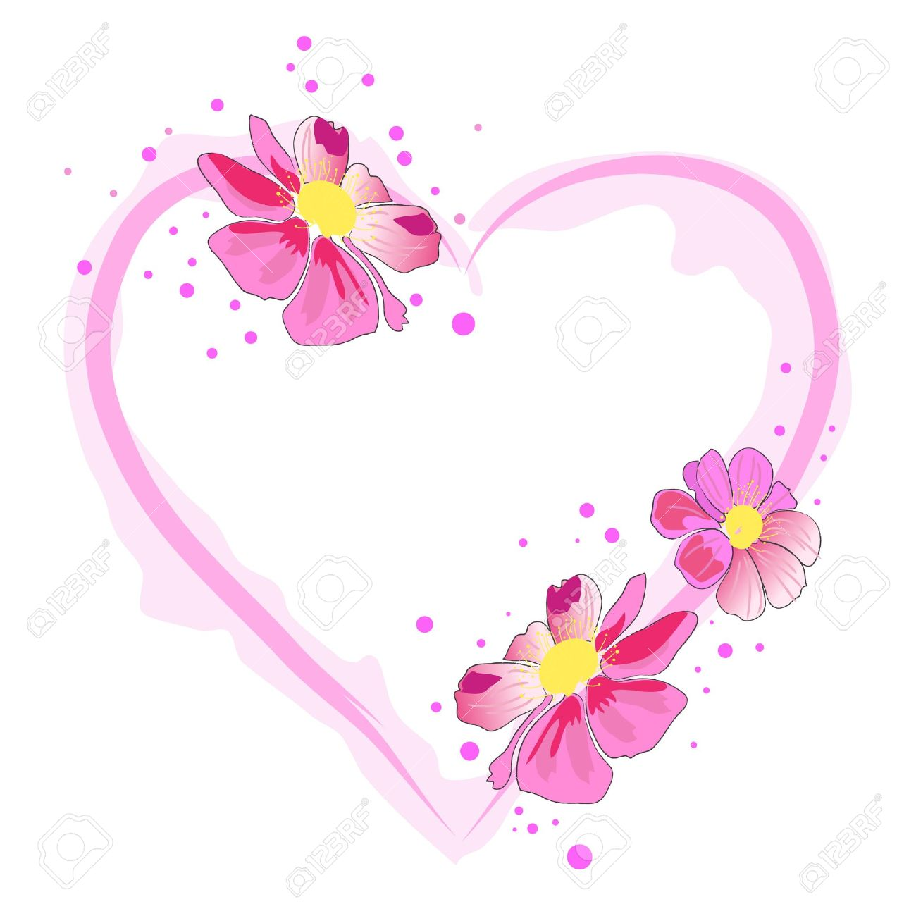 Pink hearts and flowers clipart png Beautiful Heart And Pink Watercolor Blossom Flower Royalty Free ... png