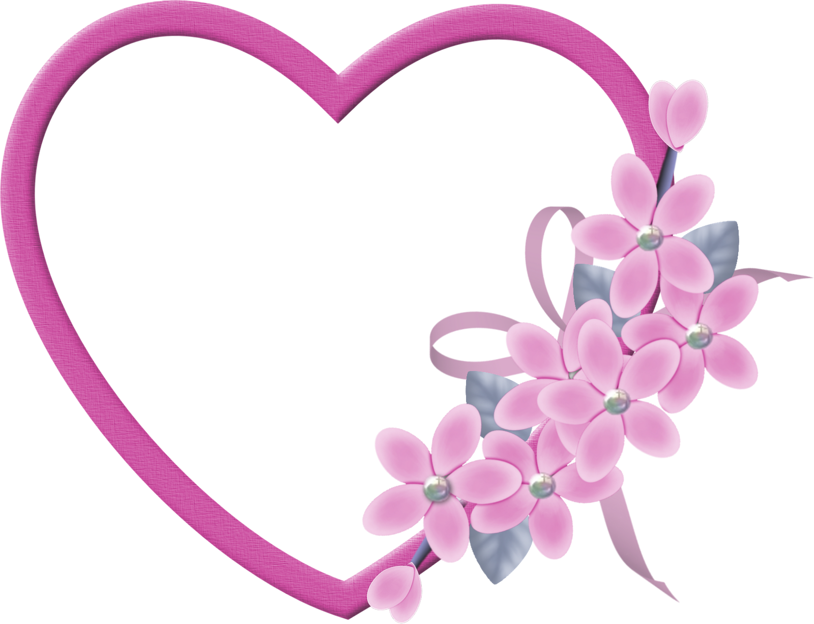 Pink hearts and flowers clipart freeuse stock Large_Pink_Heart_Transparent_ Frame_ with_Pink_Flowers.png?m=1399676400 freeuse stock