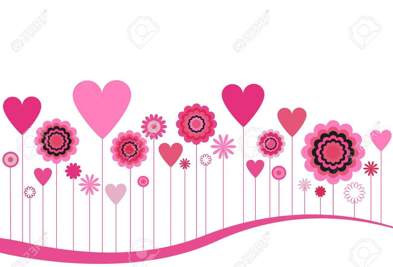 Pink hearts and flowers clipart vector library Blooming Flowers And Hearts In Pink Royalty Free Cliparts, Vectors ... vector library