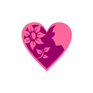 Pink hearts and flowers clipart clip art black and white download Heart Clipart - Pink Heart Flowers and a Girl with Black ... clip art black and white download