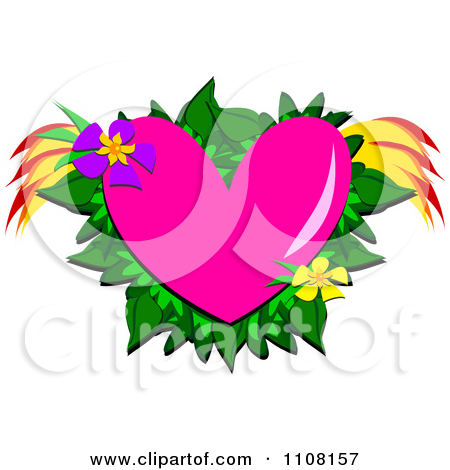 Pink hearts and flowers clipart picture free library Clipart Pink Heart With Tropical Flowers Leaves And Wings ... picture free library