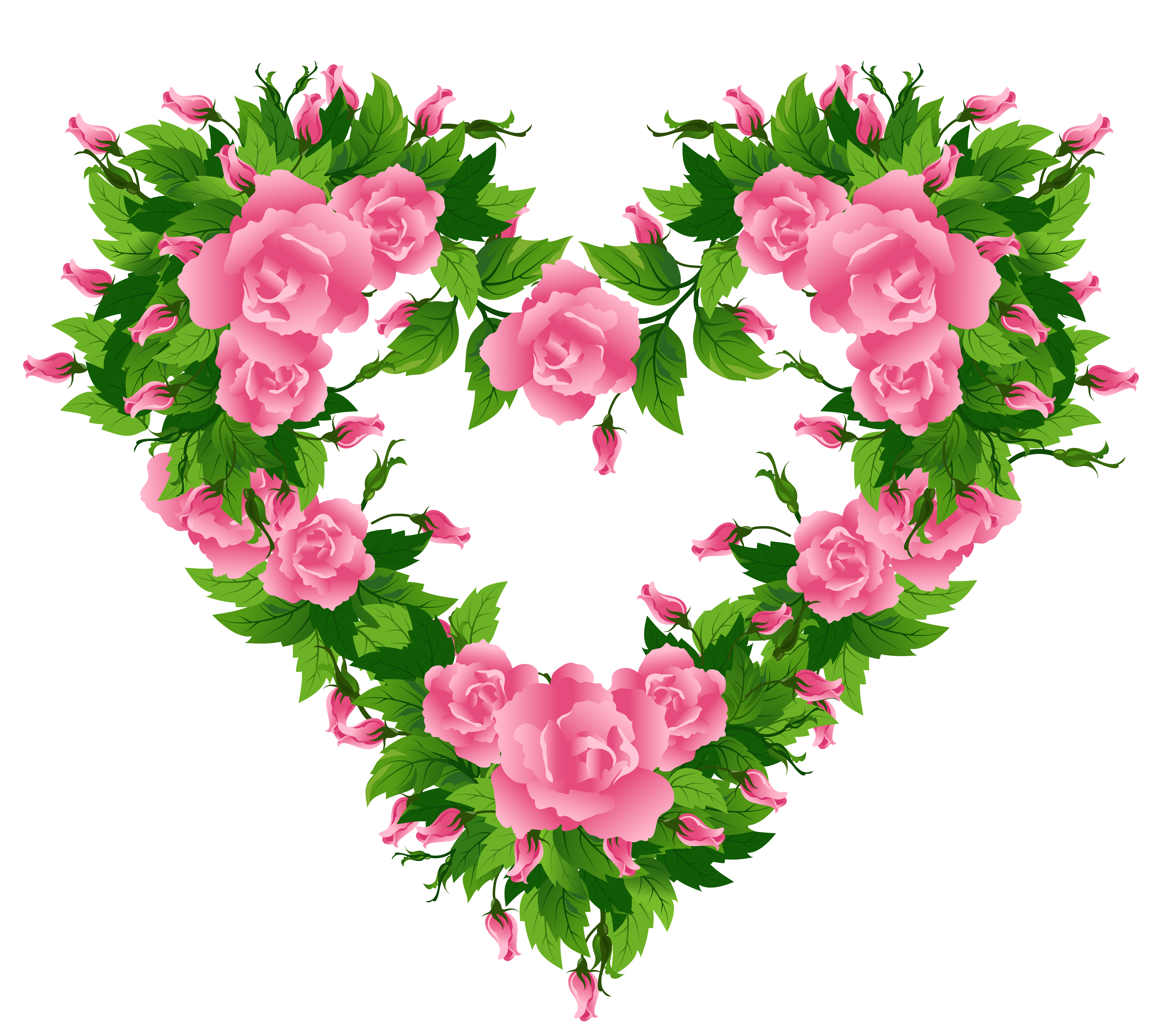 Hearts and flowers clip art banner royalty free Pink Roses Heart Decor PNG Clipart Picture banner royalty free