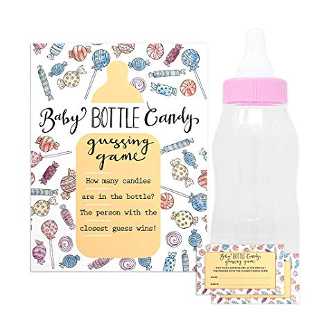 Pink jelly beans in baby bottle clipart graphic black and white Baby Shower Candy Guessing Game with 30 Cards and 11\