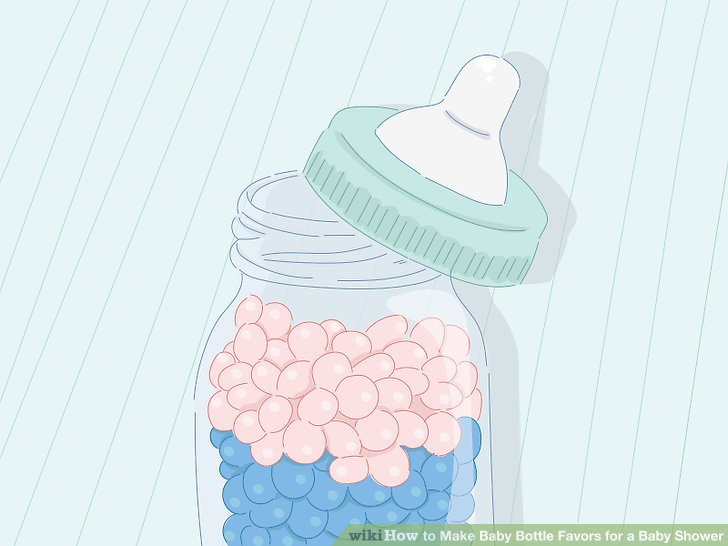 Pink jelly beans in baby bottle clipart jpg black and white library 3 Ways to Make Baby Bottle Favors for a Baby Shower - wikiHow jpg black and white library