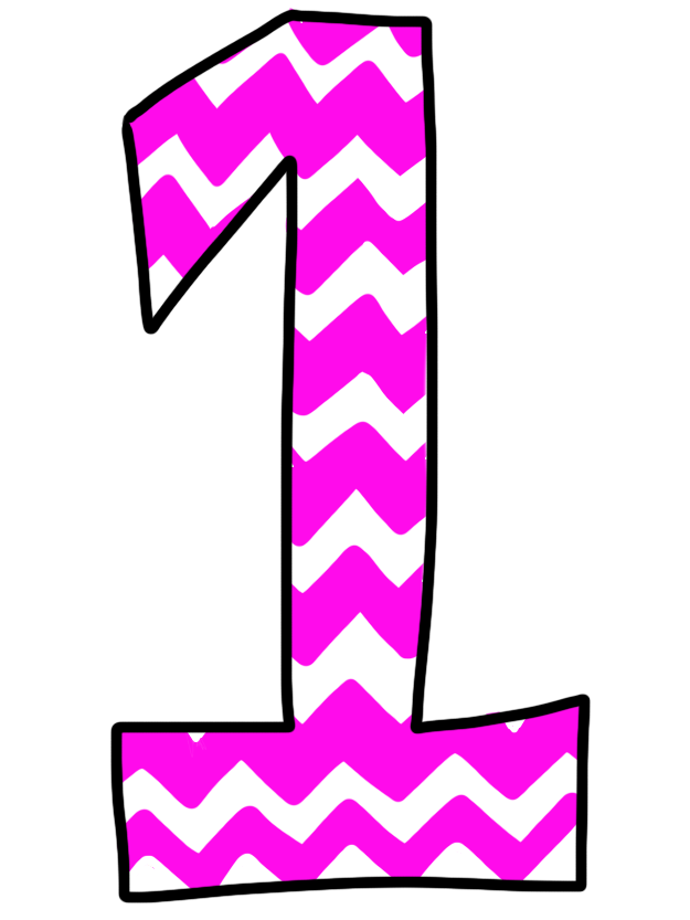 Pink number 1 clipart image black and white Pink chevron dot number 1 clipart - ClipartFest image black and white