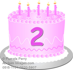 Pink number 2 birthday clipart jpg transparent library Clip Art Image of a Pink Birthday Cake With the Number 2 jpg transparent library