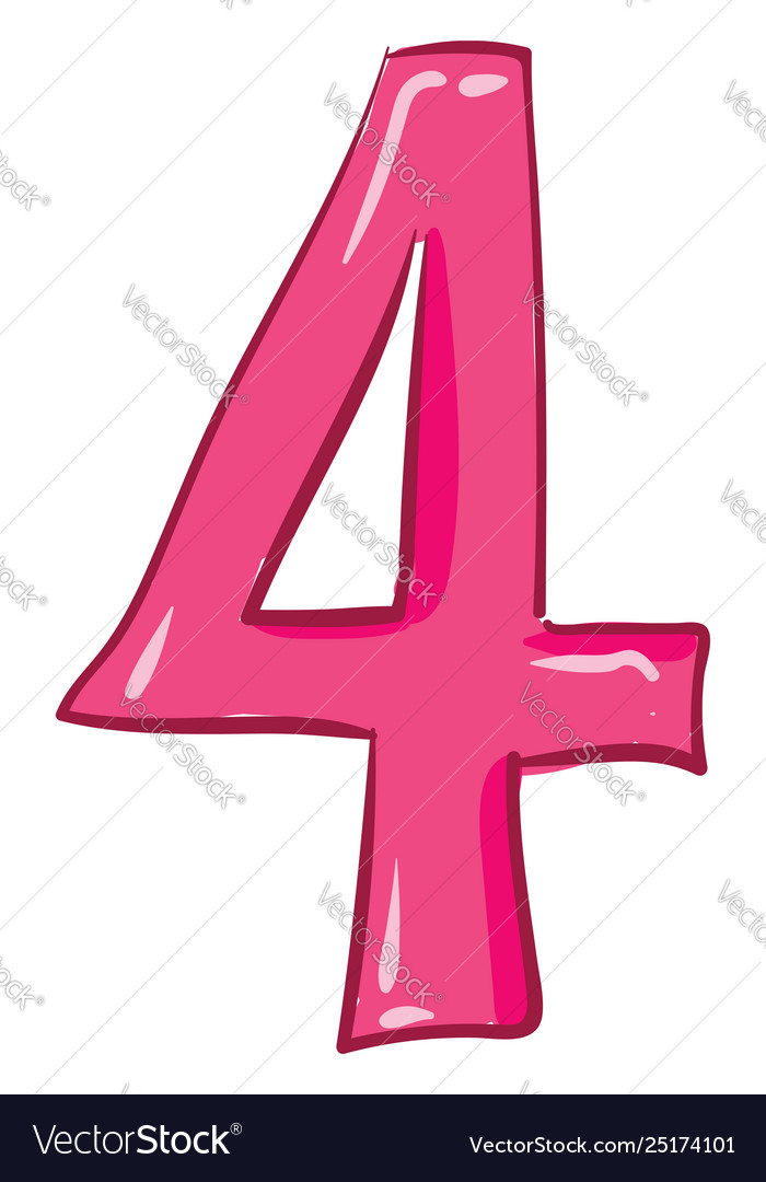Pink number 4 clipart png library stock Clipart numerical number four or 4 in pink png library stock