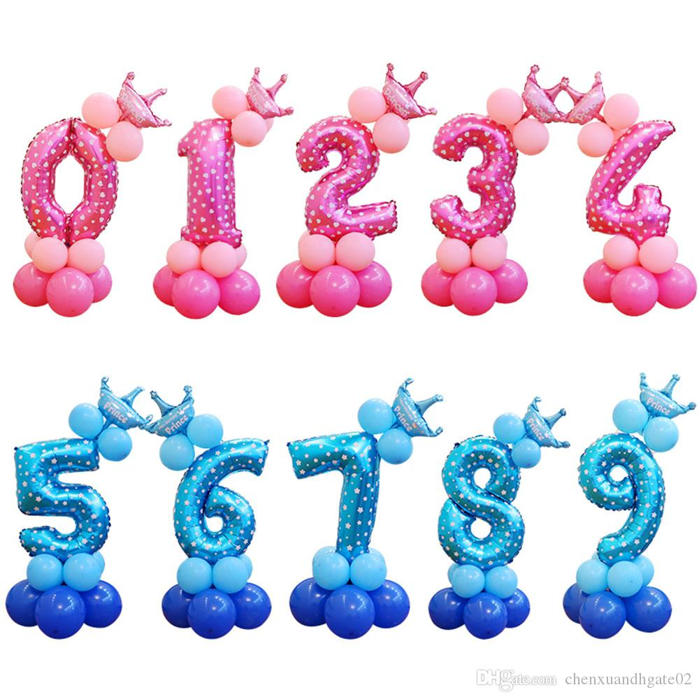 Pink number 4 clipart clip free library 13pcs/set Birthday Balloons Blue Pink Number Foil Balloons 1 2 3 4 5 6 7 8  9 Years Happy Birthday Party Decorations Kids ballon clip free library