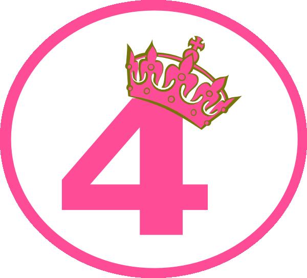 Pink number 4 clipart download Pink Tilted Tiara And 4 Clip Art at Clker.com - vector clip ... download