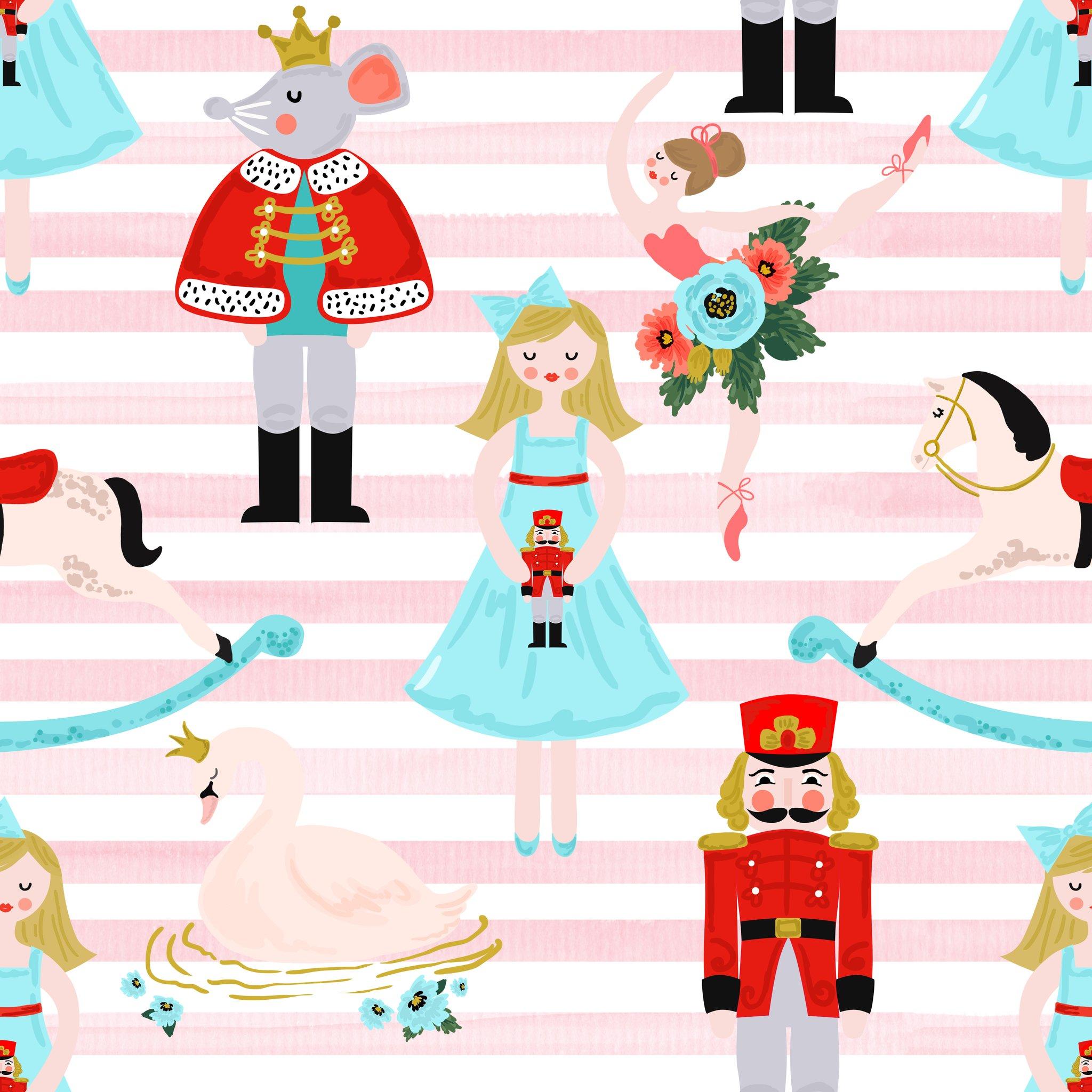 Pink nutcracker clipart vector library download Nutcracker Main Pink Stripe Preorder vector library download