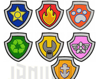 Pink paw patrol logo clipart clip art transparent download Paw patrol badge | Etsy clip art transparent download