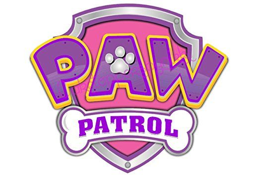 Pink paw patrol logo clipart image freeuse 5 inch Pink & Purple Paw Patrol Logo Precut Icing CakeToppers Easy ... image freeuse