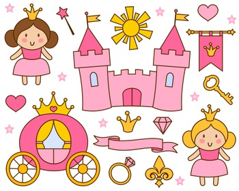 Pink princess clipart picture library Cute Little Princess Clip Art, Pink Princess Clipart, Castle, Crown picture library