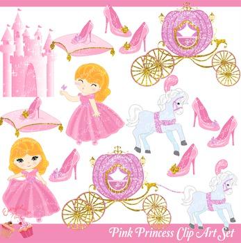 Pink princess clipart jpg download Pink Princess Pink Royal Carriage Pink Castle Clipart Set jpg download