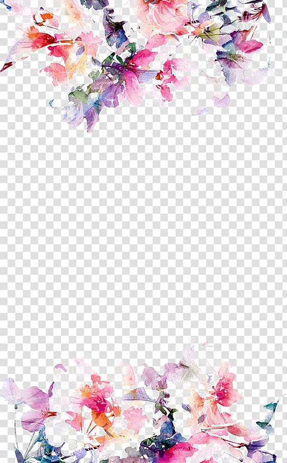 Pink purple and green flowers clipart border jpg transparent IPhone 5s Flower Paper , Watercolor flowers border, pink ... jpg transparent