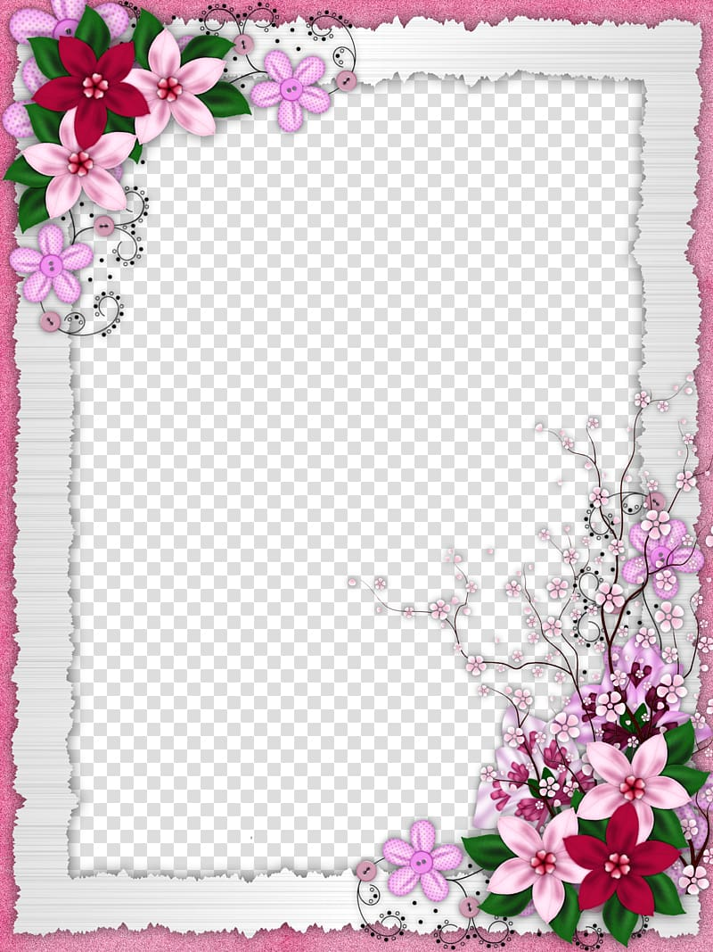 Pink purple and green flowers clipart border jpg library stock White, pink, and green floral frame , Flower frame, Floral ... jpg library stock