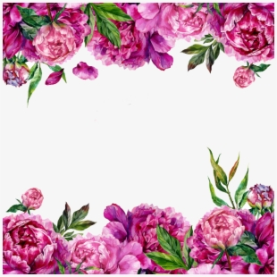 Pink purple and green flowers clipart border png library stock Floral Clipart Png - Green Flower Border Png - Download ... png library stock