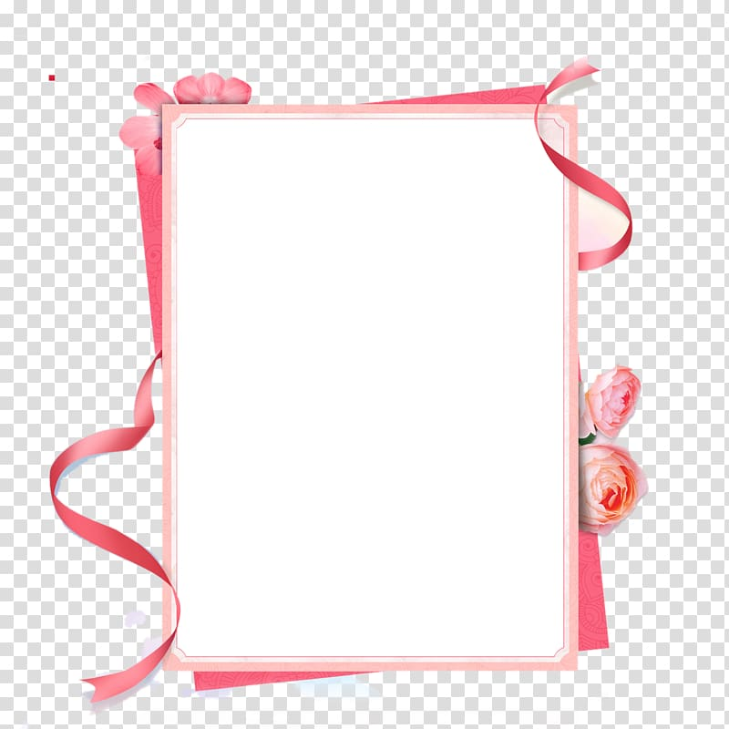 Pink ribbon clipart border vector transparent library Rectangular white and pink board artwork, Pink ribbon frame ... vector transparent library