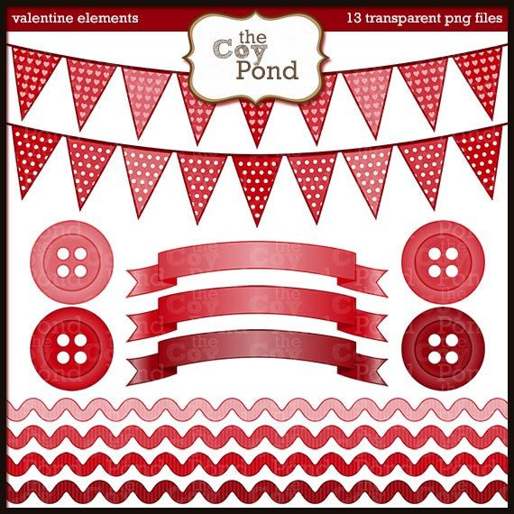 Pink rick rack clipart png transpare nt background png free stock Valentine Clip Art Red Elements clipart bunting by ... png free stock