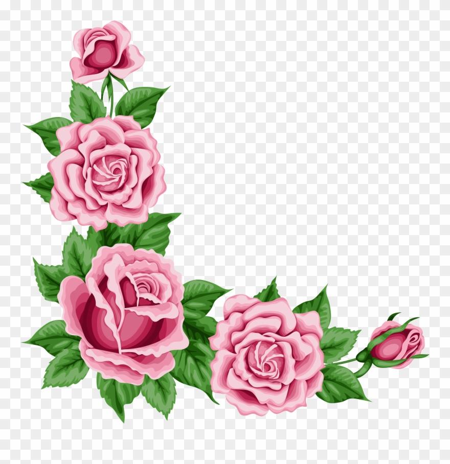 Pink rose border clipart jpg royalty free download Pink Rose Clipart Flower Corner - Rose Corner Border Png ... jpg royalty free download