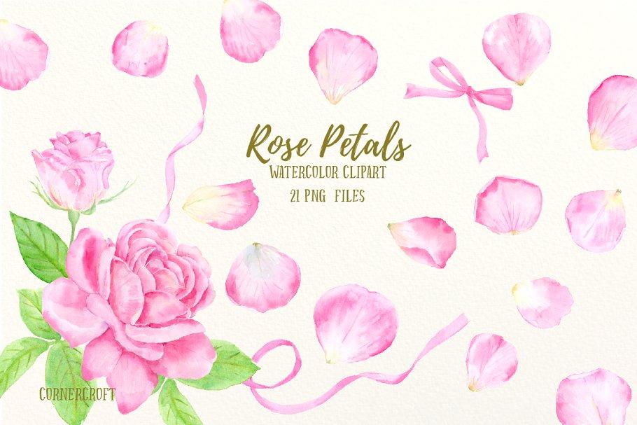Pink rose petals clipart transparent library Watercolor Pink Rose Petals Clip Art transparent library