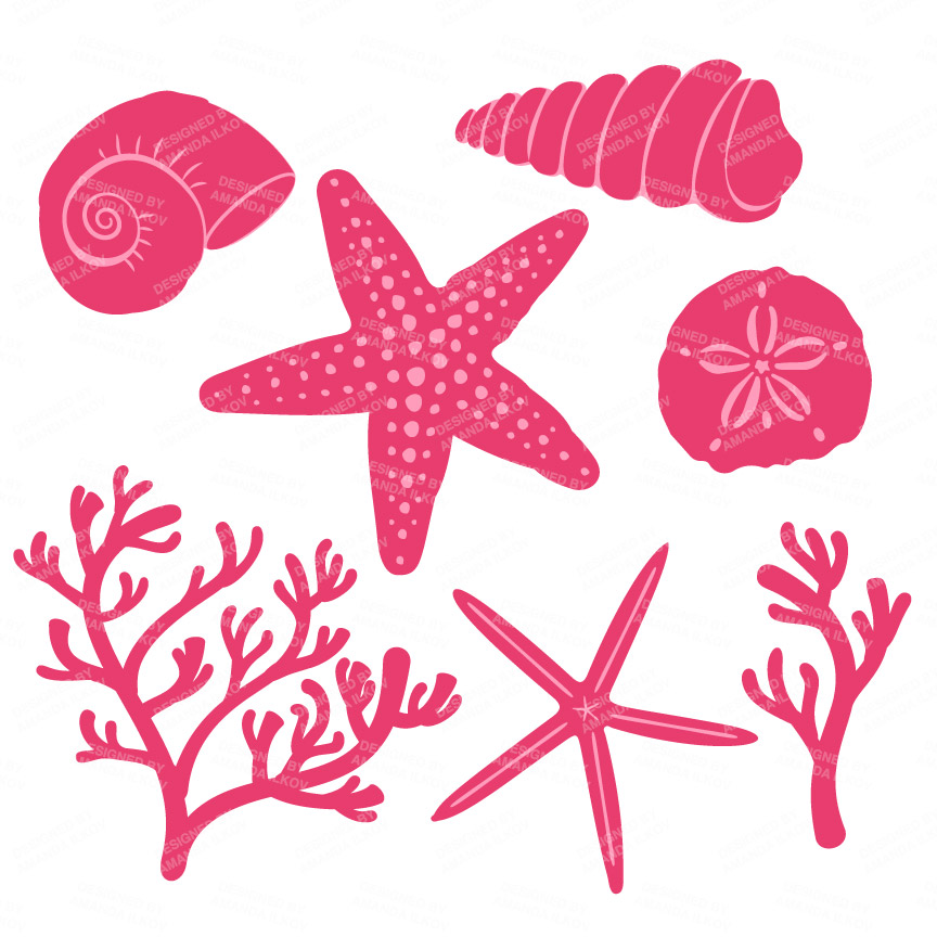 Pink seashell cliparts banner library stock Pink Seashell Clipart 4 - Mandy Art Market banner library stock