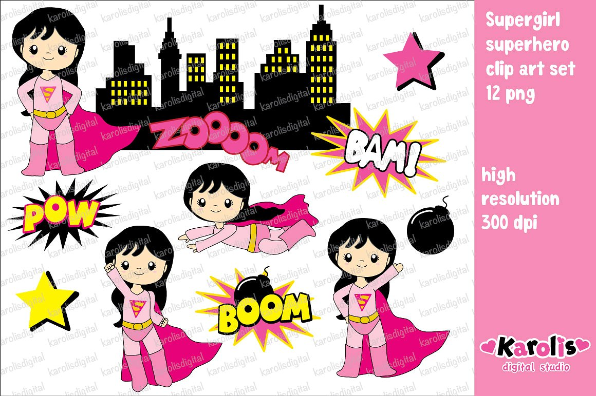 Pink super girl clipart banner freeuse stock Supergirl - clip art set ~ Illustrations on Creative Market banner freeuse stock