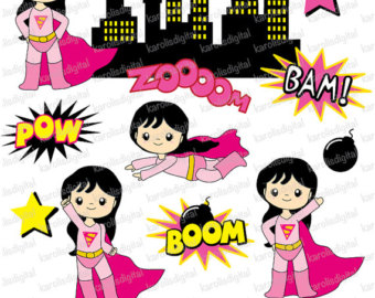 Pink super girl clipart image royalty free download Supergirl clipart | Etsy image royalty free download