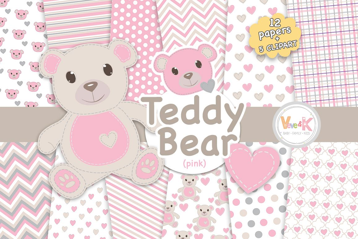 Pink teddy clipart clip art library download Pink Teddy Bear Digital Papers, Stitched Bear Clipart, Baby Pink Paper  Pack, Baby DIY, Stitch Pink Teddy Bear, Baby Pink and Grey clip art library download