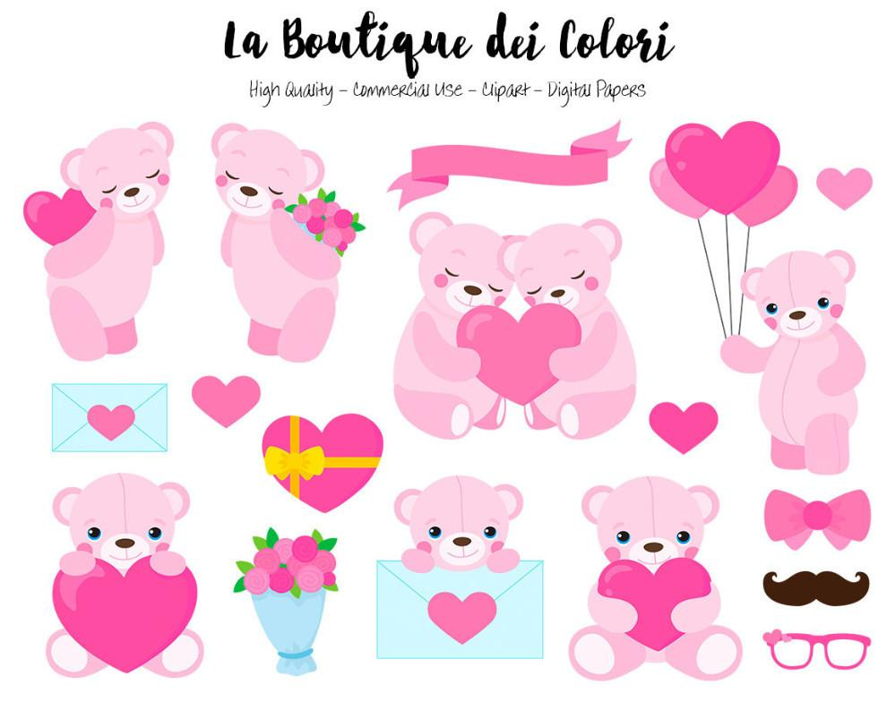Pink teddy clipart image download Pink Valentine\'s Day Teddy Bears Clipart image download