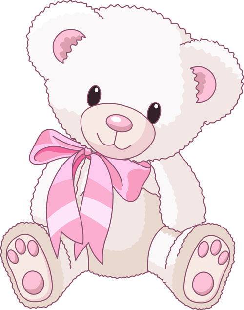 Pink teddy clipart vector library stock Cute Baby Girl Clip Art | Cute Teddy Bear vector ... vector library stock