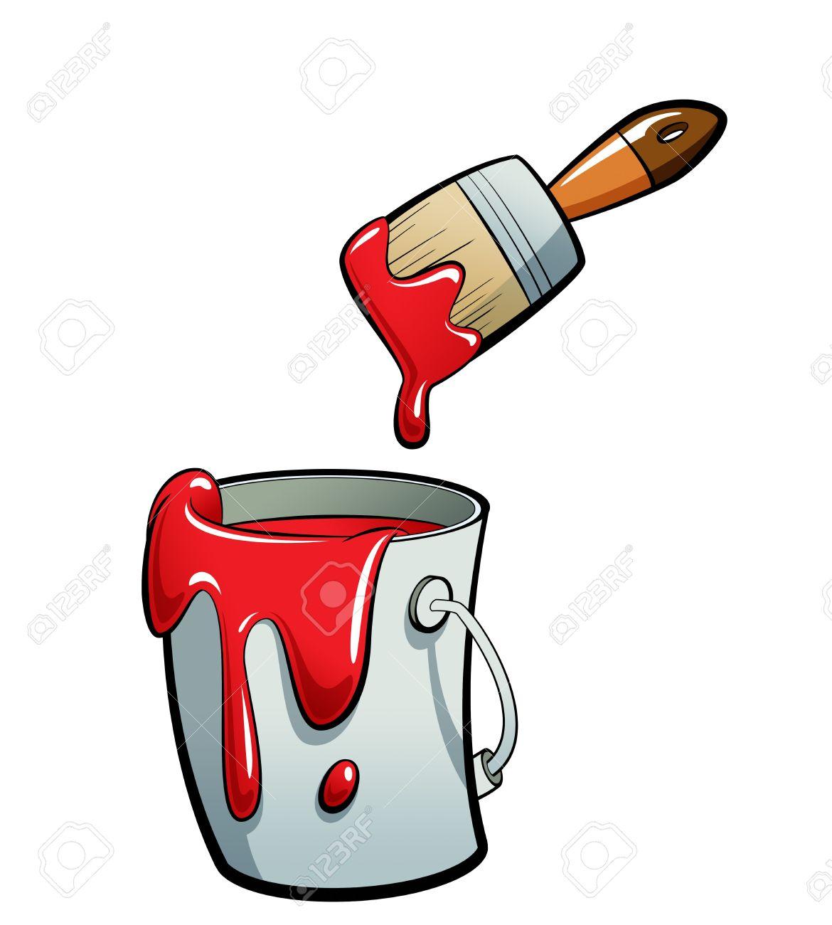 Pinsel und farbe clipart graphic freeuse Cartoon Rote Farbe Malen In Einem Grauen Farbeimer, Malen Mit ... graphic freeuse