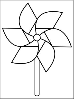 Pinwheel clipart graphic royalty free download Clip Art: Pinwheel: 6 Blades 1 w/Stick B&W I abcteach.com ... graphic royalty free download