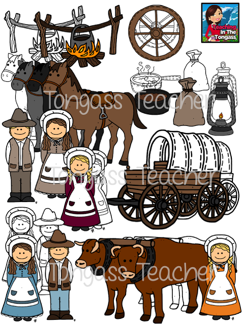 Pioneers clipart banner library stock pioneer oregon trail clipart bundle | Clip Art from TPT - A ... banner library stock